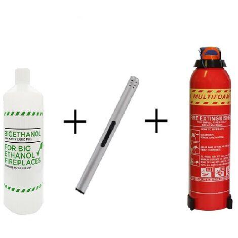 Mega Bio Ethanol Starter Pack: 6 x 1 Litre Bottles + Long Stem Refillable Lighter + Extinguisher