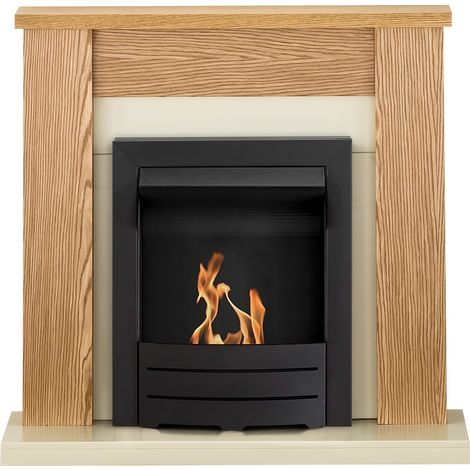 Adam Solus Fireplace Suite in Oak with Colorado Bio Ethanol Fire in Black, 39 Inch