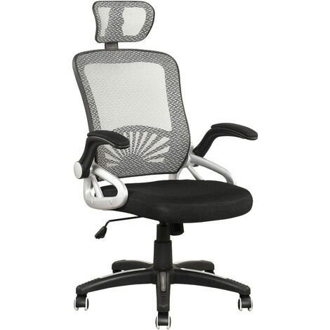 Cherry Tree Furniture Mesh High Back Extra Padded Grey Swivel Office Chair with Head Support & Adjustable Arms (Grey)