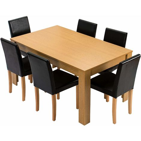 Cherry Tree Furniture 7 Piece Dining Room Set 6 Seater 150 X 90 Cm Dining Table With 6 Chairs Oak Colour Table With Black Pu Leather Seats Noa 14 Natural