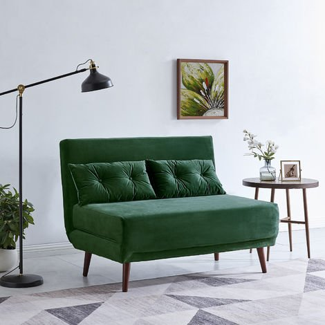Cherry Tree Furniture Algo Sofabed with Cushions in Green Velvet 2 Seater