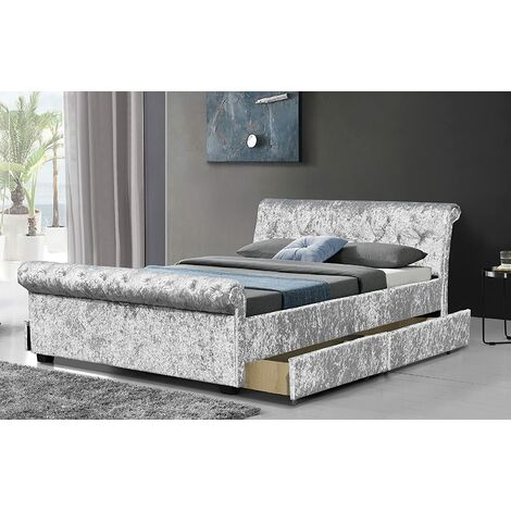 Cherry Tree Furniture Maia Luxurious Silver Crushed Velvet Sleigh Bed with 4-Drawer Storage (4FT6 Double)