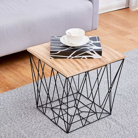 Cherry Tree Furniture KORAM Basket Side Table Geometric Wire Frame End Table (Square Wooden Top)
