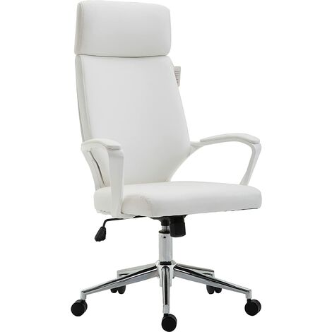 Cherry Tree Furniture High Back Modern Design PU Leather Swivel Office Chair Computer Desk Chair (White)
