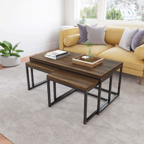 Cherry Tree Furniture CLIVE Coffee Table with Nest of 2 Tables, 1+2 Coffee Table Nesting Tables (Walnut Colour)