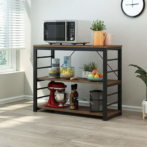 Cherry Tree Furniture Microwave Rack Shelf, Kitchen Organiser Workstation (Industrial Rustic, A)