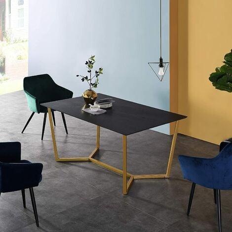 Cherry Tree Furniture SIERRE 6 Seater Dark Oak Dining Table with Geometric Metal Legs