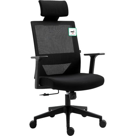Cherry Tree Furniture Joni High Back Mesh Office Chair with Headrest in Black