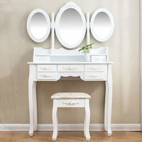 Dressing Table Set Vanity Dresser with 3-Way Tri-fold Mirrors 4 Drawers & Jacquard Cushioned Stool