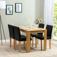 Cherry Tree Furniture 5-Piece Dining Room Set 4-Seater Dining Table with 4 Chairs, Oak Colour Table with Black PU Leather Seats