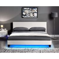 Cherry Tree Furniture URSA White PU Leather Bed Frame with LED on Footend (4FT Small Double)