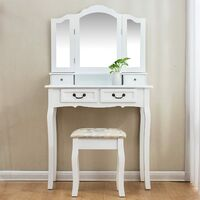 Cherry Tree Furniture Dressing Table Set Vanity Dresser with 3-Way Tri-fold Mirrors 4 Drawers & Jacquard Cushioned Stool
