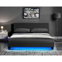 Cherry Tree Furniture URSA Black PU Leather Bed Frame with LED on Footend (4FT Small Double)
