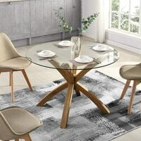 Cherry Tree Furniture LUGANO Round Glass Top Solid Oak Legs Dining Table