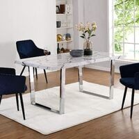 Cherry Tree Furniture BIASCA 6-Seater High Gloss Marble Effect Dining Table with Silver Chrome Legs White