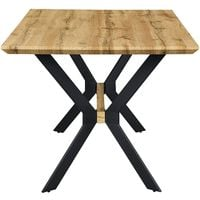 Cherry Tree Furniture Granby Wotan Oak Effect 140cm Dining Table with Geometric Metal Legs