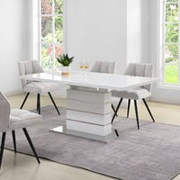 Cherry Tree Furniture Hayne High Gloss White Extending Dining Table 6 to 8 Seater