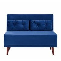 Cherry Tree Furniture Algo Sofabed with Cushions in Blue Velvet 2 Seater