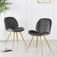 Cherry Tree Furniture Set of 2 Cosford Diamond Stitch Dining Chairs Grey Velvet