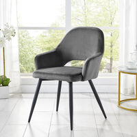 Cherry Tree Furniture Belvoir Grey Velvet Dining Chair with Metal Legs