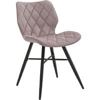 Cherry Tree Furniture Set of 2 Ampney Diamond Stitch Pink Pink Velvet Dining Chair with Metal Legs