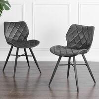 Cherry Tree Furniture Set of 2 Ampney Diamond Stitch Dark Grey Velvet Dining Chair with Metal Legs
