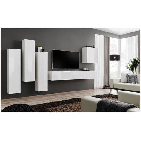 Ensemble Meuble Salon Switch Iii Design Coloris Blanc Brillant Blanc 1239