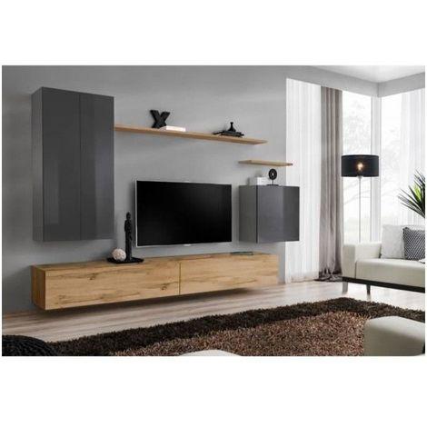 Meuble TV mural SWITCH II design, coloris chêne Wotan et gris brillant. - Gris