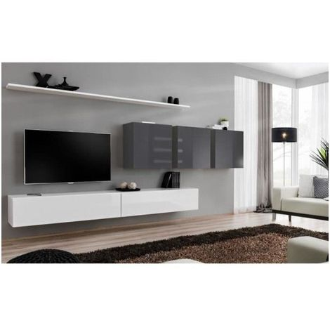 Ensemble meuble salon SWITCH VII design, coloris blanc et gris brillant. - Blanc