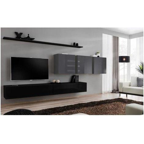 Ensemble meuble salon SWITCH VII design, coloris noir et gris brillant. - Noir