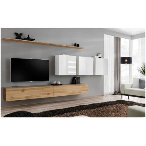 Ensemble meuble salon SWITCH VII design, coloris chêne Wotan et blanc brillant. - Marron