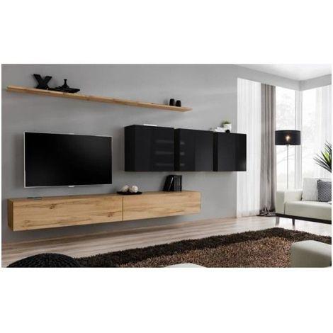 Ensemble meuble salon SWITCH VII design, coloris chêne Wotan et noir brillant. - Marron