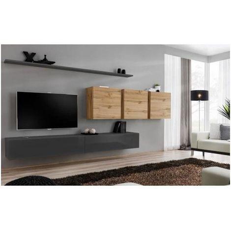 Ensemble meuble salon mural SWITCH VII design, coloris gris brillant et chêne Wotan. - Gris