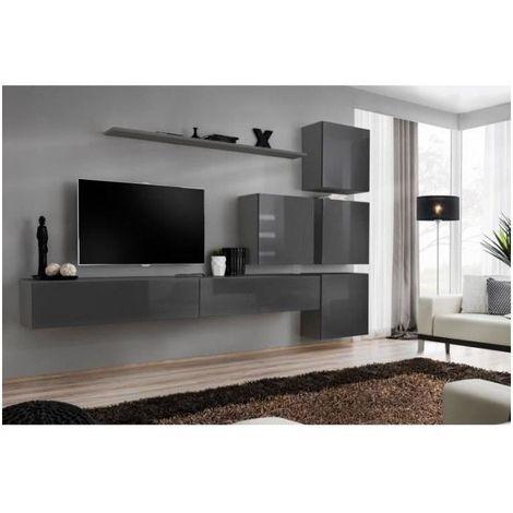 Meuble TV mural SWITCH IX design, coloris gris brillant. - Gris