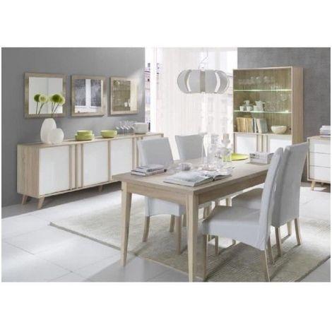 Salle à manger complète MALMO. Buffet + vaisselier + 3 x miroirs + Table 160 cm. Coloris sonoma et blanc mat - Blanc