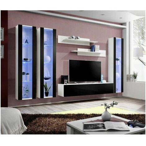 ensemble meuble tv mural fly c noir et
