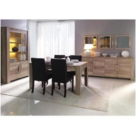 Salle à manger complète FARRA. Buffet + Vitrine/vaisselier + Miroirs (x3) + table en 160 cm. Mobilier contemporain et design. - Marron
