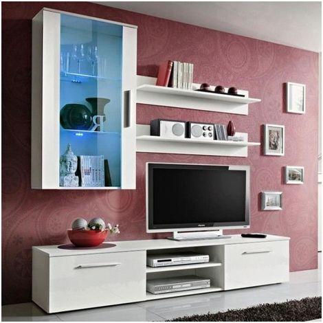 Meuble TV Mural Design Galino V White Blanc - Blanc