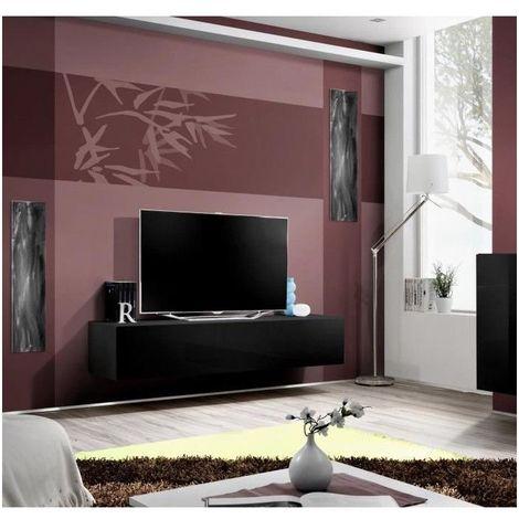 Meuble TV suspendu de la collection FLY design, coloris noir brillant. - Noir
