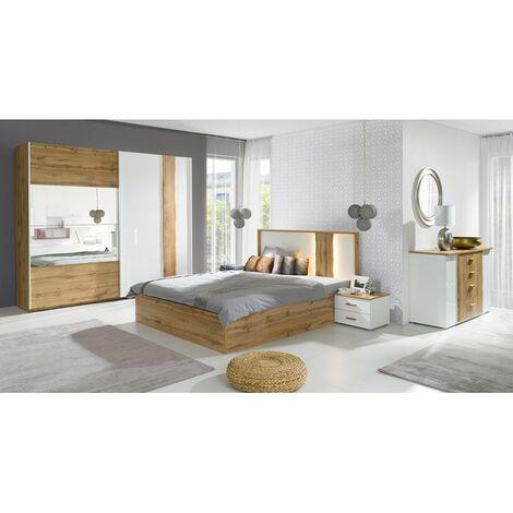Chambre à coucher complète WOOD chêne et blanc. Lit COFFRE 160x200 cm + sommier + armoire 200 cm + commode + 2 chevets - Marron