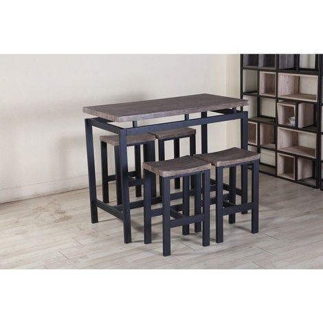 Ensemble table haute, bar + 4 tabourets NIMES. Set moderne type industriel, bois et métal. - Marron