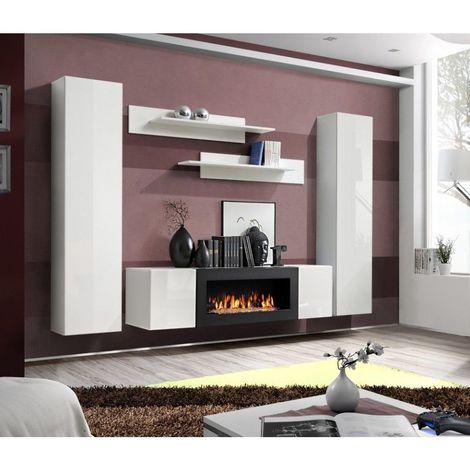 ENSEMBLE MEUBLES DE SALON - FIREFLY. Composition murale avec une cheminée bio-éthanol. - Blanc