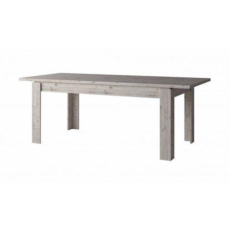 Table de salle à manger extensible 180-220 cm de la collection IRON. Coloris chêne naturel Wellington. - Gris