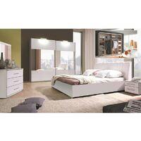 Ensemble Chambre à coucher VERONA : Armoire, Lit simili cuir 180x200, 2 chevets , matelas à mémoire de forme. - Blanc