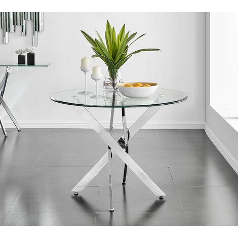 Novara Chrome Round Glass Dining Table