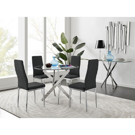 Novara Round Chrome Metal And Glass Dining Table And 4 Black Milan Dining Chairs Set