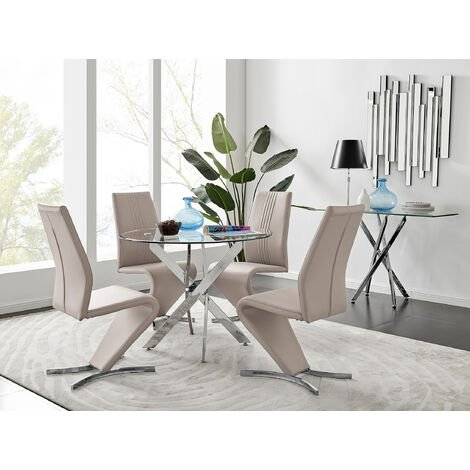 Novara Round Chrome Metal And Glass Dining Table And 4 Cappuccino Grey Willow Dining Chairs Set