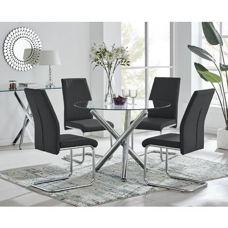 Selina Round Glass And Chrome Metal Dining Table And 4 Black Lorenzo Chairs Set