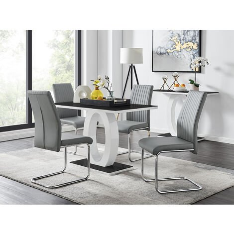 White High Gloss Glass Dining Table And, Small Black Glass Dining Table And Chairs