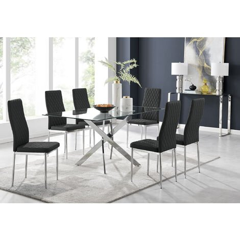 Leonardo Glass And Chrome Metal Dining Table And 6 Black Milan Chairs Dining Set
